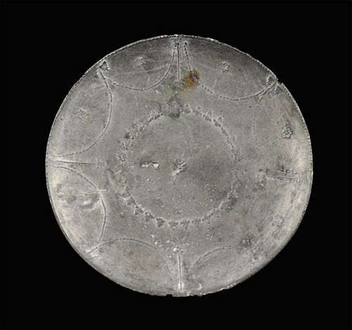 Finely decorated and very rare Roman pewter dish, 1st.-3rd, cent. AD