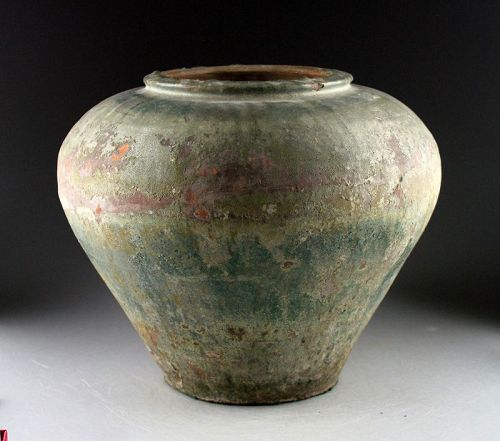 Massive Green-glazed Islamic ceramic vase, ca. 12th.-13th. century