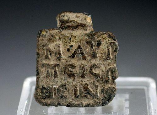 Roman inscribed lead plaque w Marcus Aurelius, 2nd.-4th. cent. AD
