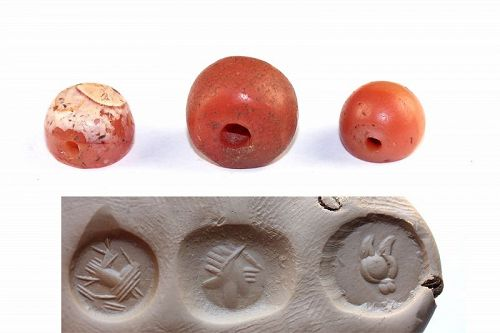 Three better Sasanian Carnelian stamp seals, 3rd.-6th. cent AD