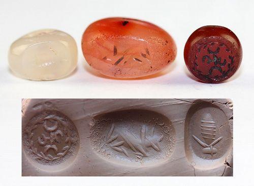 Three superb Sasanian stamp seals, 3rd.-6th. cent AD