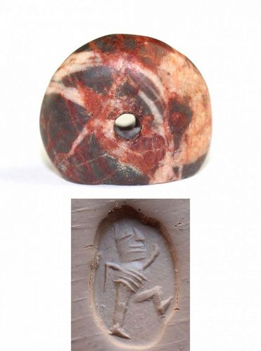 Large and beautiful Sasanian seal with warrior, 4th.-6th- cent.