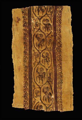 Late Roman Clavus textile w. Humans & animals, 4th.-6th. cent.