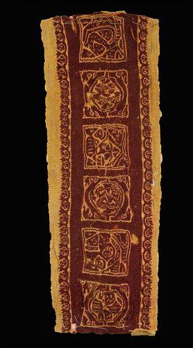 Large ancient Roman textile Clavus w. people & animals, 4th.-7th. cent