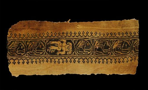 Lovely Byzantine textile w naked male and lions, 6th.-9th. cent. AD
