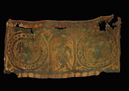 Rare Roman period textile with erotic female dancer, ca. 3rd. cent. AD