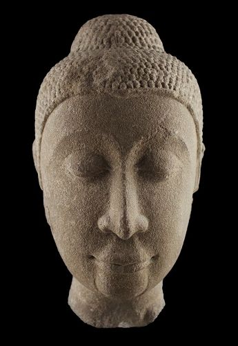 Important Sandstone head of Buddha, Thai Ayutthaya c. 14th. cent.AD