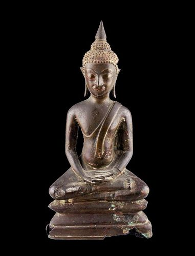 Thai, u-thong style, bronze figure of buddha, 14th.-15th. cent. AD