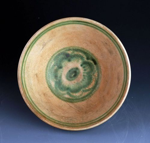 Beautiful Burmese Pottery Bowl w. Fish & Flower Motif, 16th-17th cent