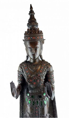 Large Thai bronze & silver sculpture of Buddha, Ayutthaya, 18th. cent.