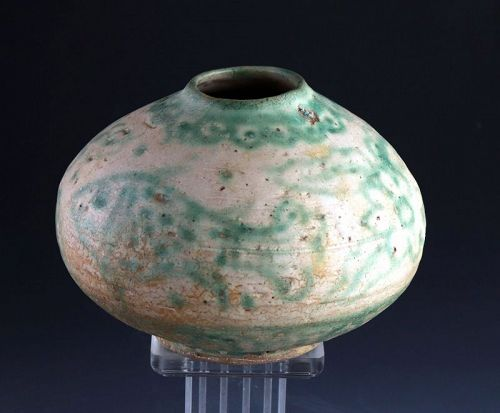 Nice Burmese Pottery Flask w. Fish Motifs, 17th-18th cent AD