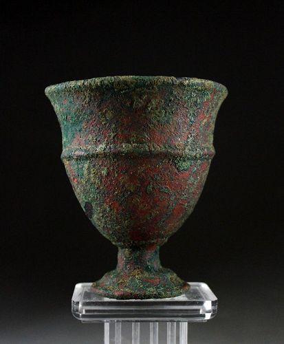 Exceptional Aryan stemmed bronze beaker, 2nd. millenium BC