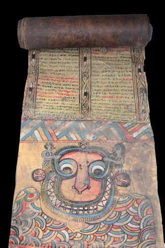 Amazing huge Ethiopian Christian Magic scroll, 18th.-19th. cent. AD