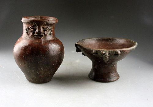 Attractive lot of two Quimbaya Anthropomorphic pottery vessels!