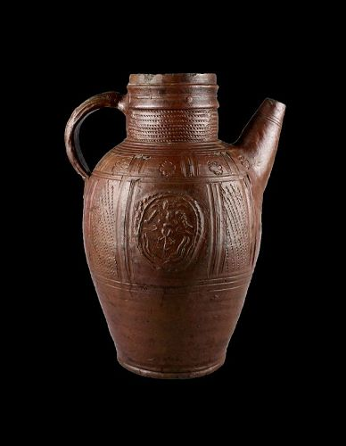 Huge German renaissance salt-glazed stoneware spouted jug 16th. cent.!
