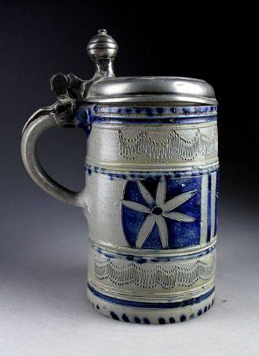 Superb condition German Westerwald stoneware tankard, 1700!