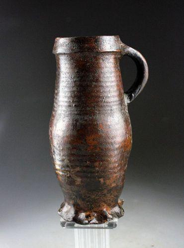 A superb brown glazed medieval Siegburg stoneware jug, 13/14. cent.