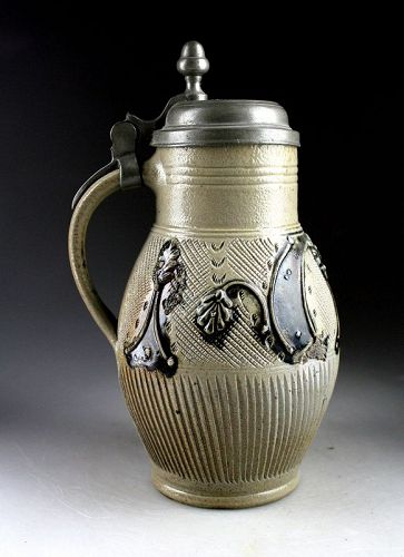 Rare intact fluted stoneware jug, Germany, Muskau, 18th. century