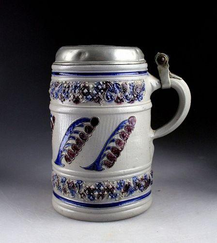 Choice German Westerwald stoneware tankard, stein, ca. 1700 AD