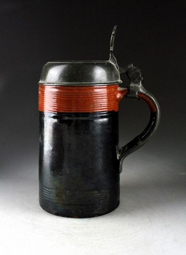 Scarce and intact Early German lidded Stoneware tankard, 19th. cent.