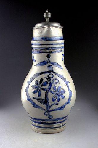 A massive German stoneware jug, stein, Westerwald ca. 1780-1820