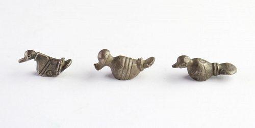A set  o three Greek-Roman Silver Bird Amulets, Dacia 1.-2. cent. AD