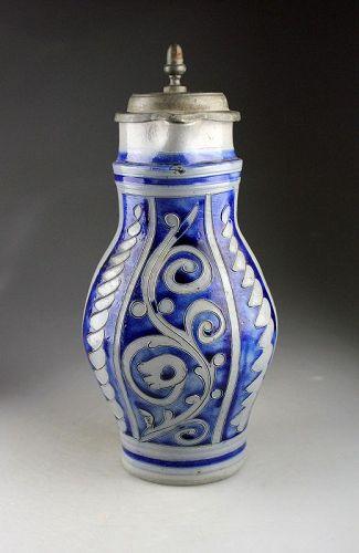 Nice German salt glazed stoneware jug, Westerwald, ca. 1800-1840 AD.