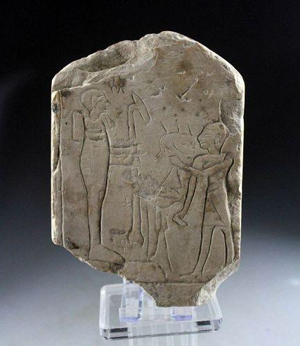 Rare Egyptian carved limestone stele w figures, 1st. millenium BC