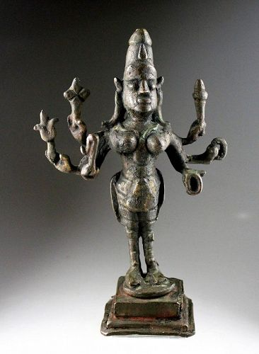 Large tribal Hindu bronze figure of Kali, Southern India, 18th. cent.
