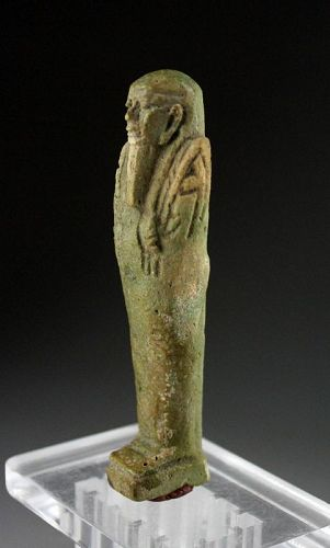 Lovely Egyptian Faiance Ushabti, Late Period 27th.-30th. dynasty