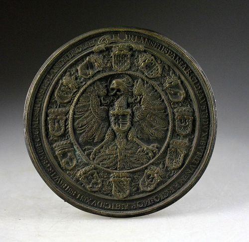 European bronze plaque w Coat of Arms, Spanish Habsburg, 16th. cent!