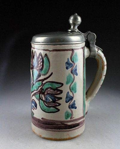 Attractive German lidded faiance tankard, 18th.-19th. cent.