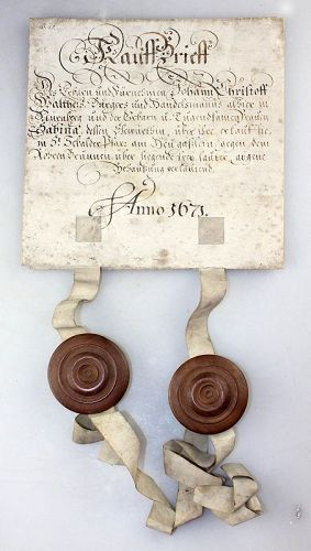 Important antique document with two seal capsules, Nürnberg 1671!