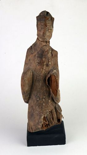 Chinese wooden funerary figure of attendant, Han Dynasty!