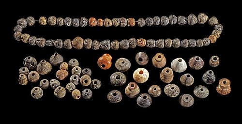 92 carved figural Manteno & Geomethric Chancay Spindle whorl beads!
