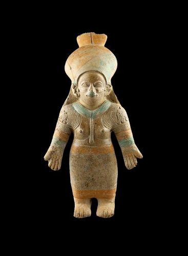 Lovely larger jama-coaque pottery female figure, 100-500 AD