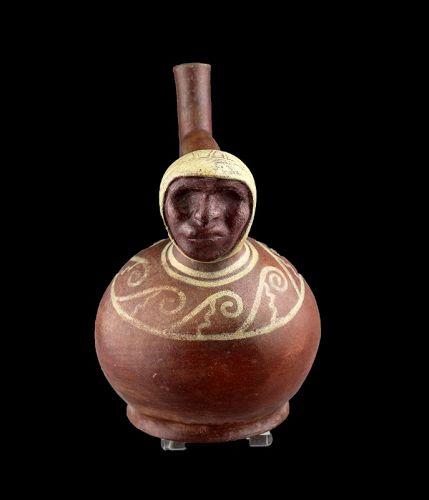 Fine Pre-Columbian Moche Stirrup vessel, 100-500 AD