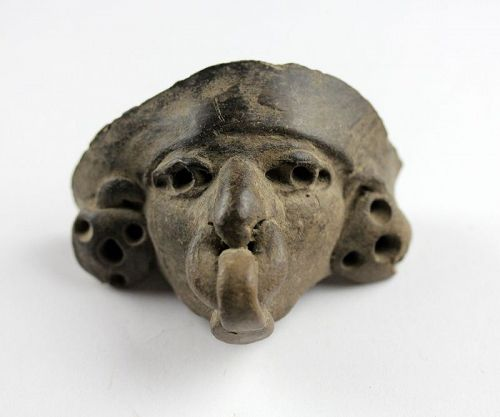 Pair of large Pre-Columbian pottery heads, Manteno Culture!