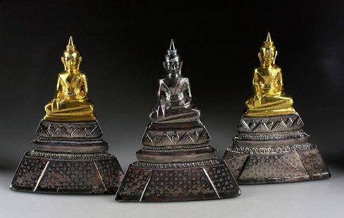 Nice three piece set of Thai silver and gilt buddhas, 20th. century