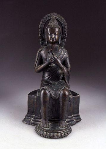 Chinese bronze figure of the seated Buddha , 18th.-19th. century