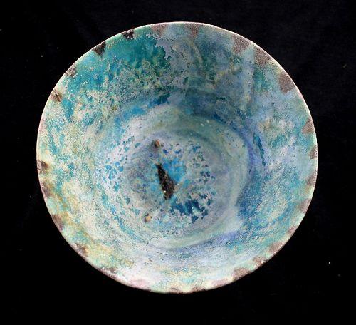 Superb Islamic pottery jar Torquise glaze w full iridescence - a gem!
