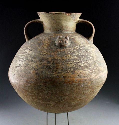 Massive Pre-Columbian pottery vessel w cats, Columbia or Ecuador