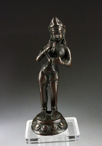 Attractive bronze figure of a nude Hindu Godess, Indian, c.18th.cent.