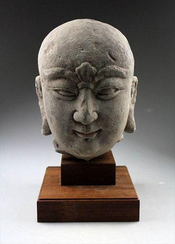 Massive lifesize Chinese stone head of Lohan Monk, Song Dynasty!