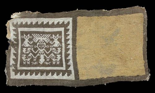Exceptional Chancay textile with god and animals,