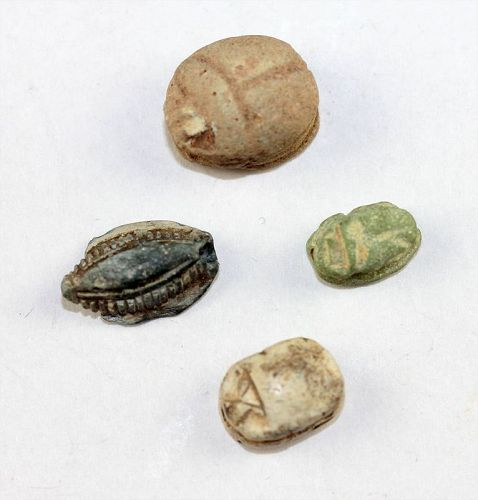 Lot of 4 ancient Egyptian scaraboid seals, 2nd.-1st. millenium BC