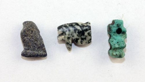 Nice lot of three Egypt amulets of Lapis, Diorite and faiance!