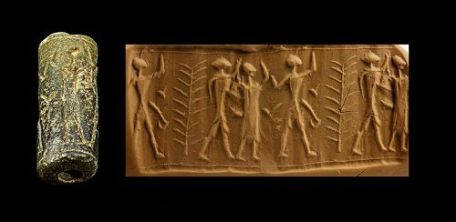 Rare Cylinder seal with figures, Mesopotamian 3rd.-2nd. mill BC.