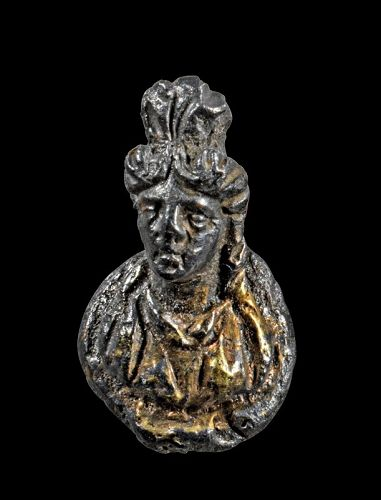 Attractive Roman solid gilt silver bust of a godess, 1st.-3rd. century