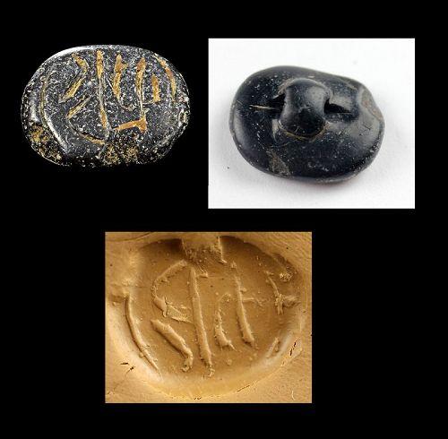 Fine Levantine black stone stamp seal w scriptsigns, 2nd. mill BC